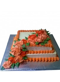 Roses On Two Layer Cake