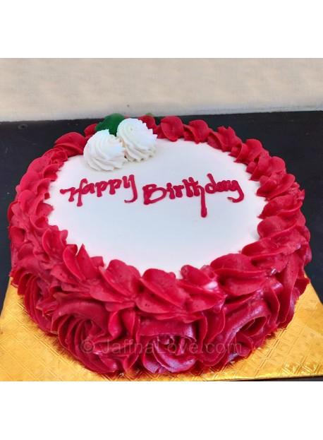 Flower Decorated Round Shape Cake