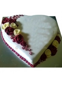 Flowers On Heart Cake