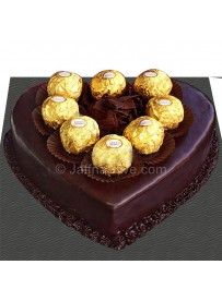 Ferrero On Chocolate Heart Cake