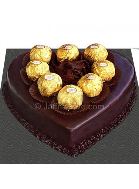 Ferrero On Chocolate Heart Cake
