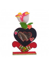 Double Heart With Rose