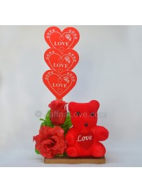 Roses With Teddy Bear (Artificial Rose)