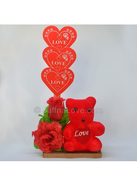 3 Roses With Teddy Bear (Artificial Rose)