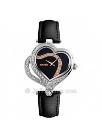 Romantic Double Heart Shape Womens Wrist Watch