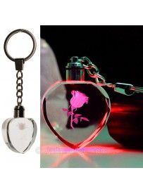 Crystal Rose LED Light Keychain